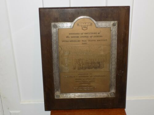 Vintage 1935 Fire Department Plaque on Wood Geneva, NY.
