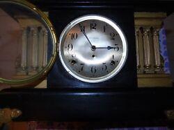 Antique Mantel Clock, Seth Thomas, Wooden Box, Chime, Key, Pendulum, USA