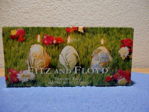 Fitz & Floyd Elegant Eggs Set of 3 Candles Floral 863/7MC 2001