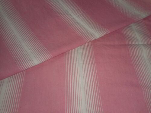 Antique French Linen Cotton Ticking Fabric ~ Rare Coral Pink Wide Stripe