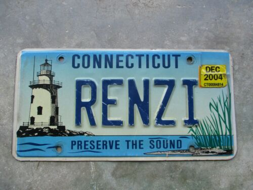 Connecticut 2004 Lighthouse  license plate  #  RENZI