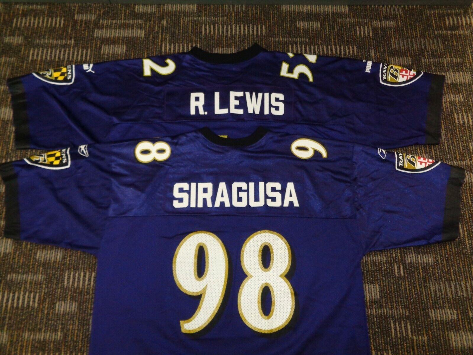 LOT-TONY SIRAGUSA RAY LEWIS BALTIMORE RAVENS REEBOK NFL GAME FOOTBALL JERSEYS - $59.99