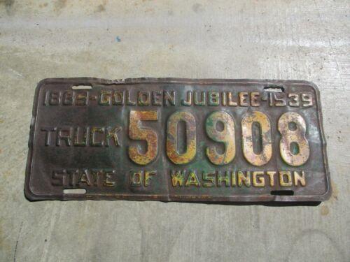 Washington 1939 Truck license plate #  50908