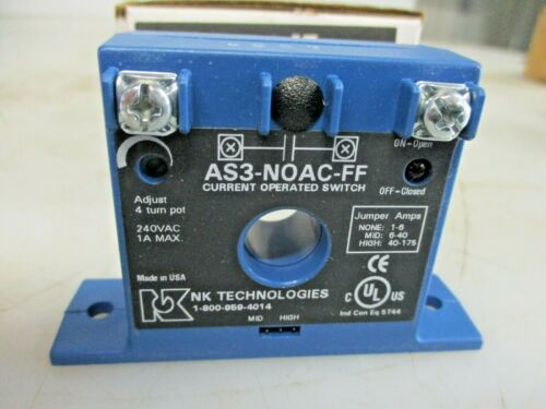 NEW NK TECHNOLOGIES CURRENT OPPERATED SWITCH 240VAC 1A MAX AS3-NO-FF