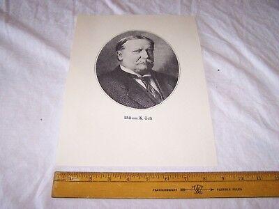 """Vintage U.S. President WILLIAM H TAFT Print 8.75"""" x 12"""""""