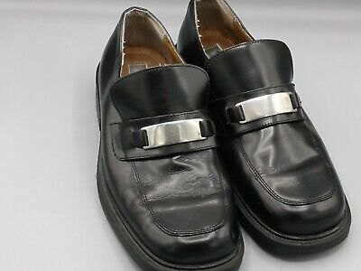 Alfani Mens Black Leather Slip-On Loafers Shoes Size 8.5