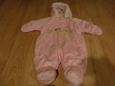 Used, Infant Size 3-6 Months Bon Bebe Pink Hooded Pram Snowsuit Snow Suit Pony Horse  for sale  Shipping to South Africa