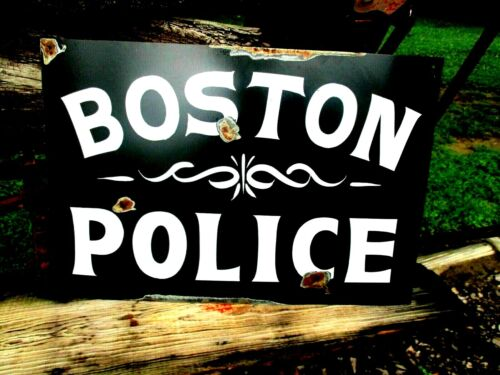 Vintage Style BOSTON POLICE Dept BHP BPD FBI Black SIGN Highway Patrol Man Cave
