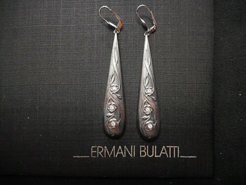 Vintage E. Bulatti Old Silver Art Nouveau Design PIERCED Earrings w/Crystal