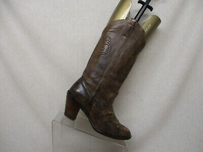 Acme Dingo Distress Brown Leather Cowboy Western Boots Womens Size 6 M - 7452