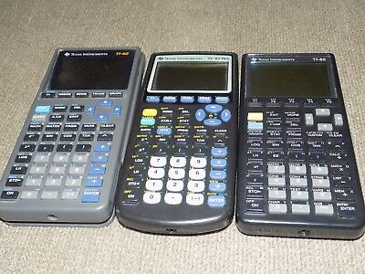 Three Texas Instrument Calculators: TI-82, TI-83 Plus, TI-85 for parts & Repair