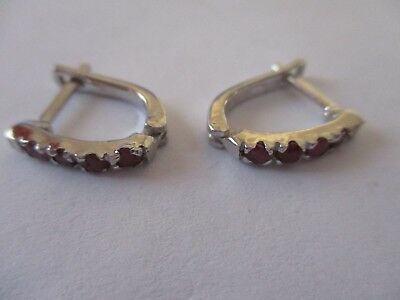 4 Stone Sterling Silver Ruby Earrings real round cut Red Rubies