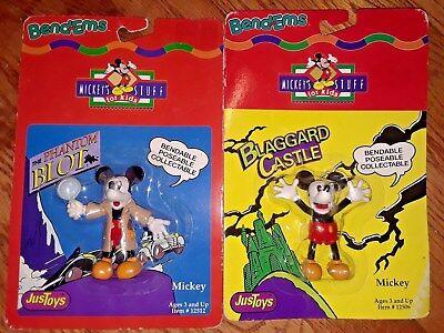 1990s Halloween Disney Movies (MOSC 2 lot Just Toys Bend Ems Mickey Mouse Phantom Blot Blaggard OSS Walt)