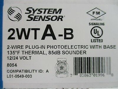 New System Sensor 2wta-b - 2-wire Photoelectric Smoke Detector