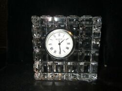 Waterford Cubed Square Crystal Desk Clock Signed