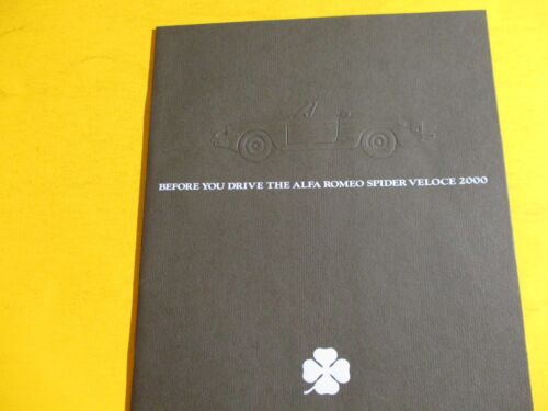2000 ALFA ROMEO SPIDER VELOCE SHOWROOM SALES BROCHURE..20 pages