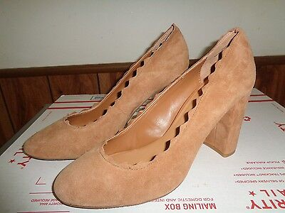 NEW Beige Tan Suede Pumps Shoes High Heels Womens Size 11M by Crown Vintage Tan Suede High Heel Pumps