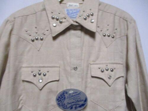 "Vintage ""THE STUD"" Nickel Spoted Tan Denim Rockmount Ranchwear ROCKABILLY Shirt"