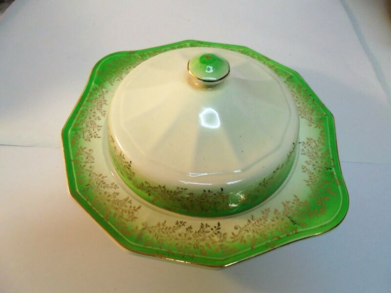 Vintage Windsor China Victoria Pattern Covered Butter Dish Green, White & Gold