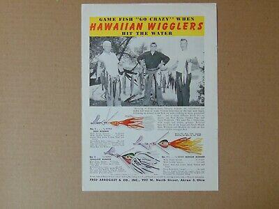 1949 HAWAIIAN WIGGLERS FISHING LURES vintage art print ad
