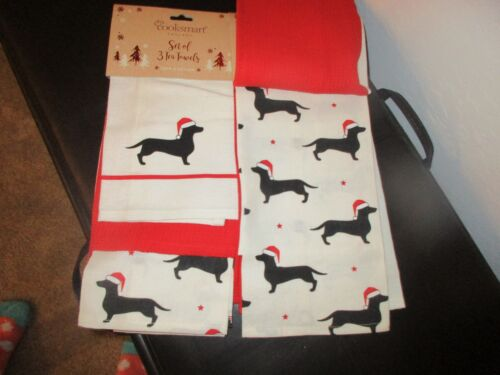 3 Dachshund Christmas Tea Kitchen Towels Holiday Santa Hat Cooksmart NWT