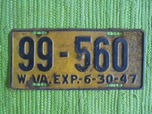 1947 West Virginia License Plate WV 47 Tag W VA 99-560