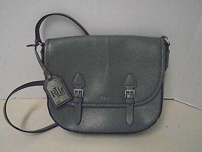 Ralph Lauren Messenger Grau Leder Handtasche Neu