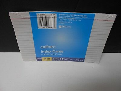 3 Packs Caliber Ruled Index Cards. 25 Cards Per Pack. 5 X 8 498401