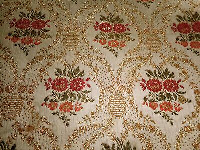 Vintage Retro Mod French Damask Scroll Jacquard Furnishings Fabric ~ Pink Orange