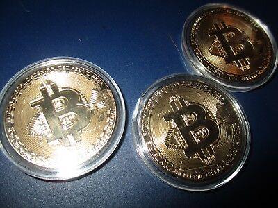 3 Stück  Medaille / Sammler - Münze , Style  BTC Design , Gold-Optik ,  AC  001 ()