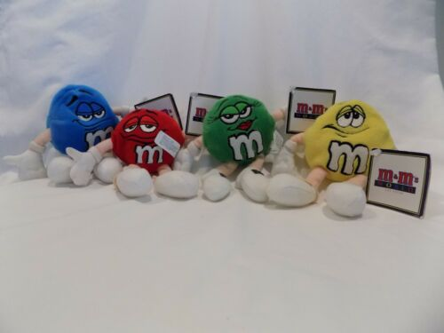 Set 4 M&M World Las Vegas Plush Bean Bag w Tags Red Blue Yellow Green Character