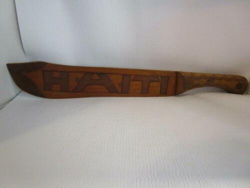 "Vintage HAITI Wood Wooden 20"" Hand Carved Machete Souvenir of Haiti"