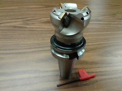 2 45 Degree Indexable Face Shell Mill W. Bt40 Arborface Milling Cutter --new