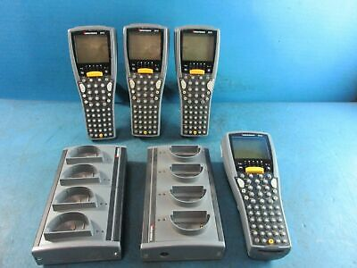 Lot Of 4 - Intermec 2415 Barcode Scanner With 2 Docks 1 Wo Battery 1 Wo Handle