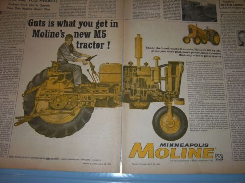 VINTAGE  MINNEAPOLIS MOLINE ADVERTISING -M 5 TRACTOR -1961