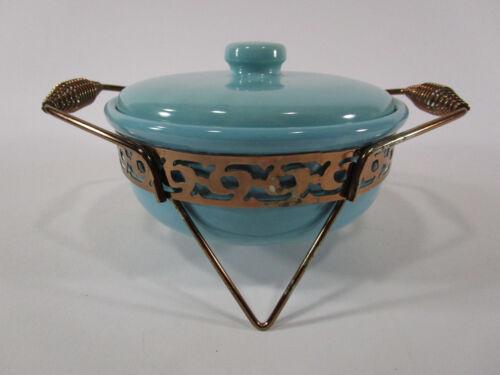 Vintage Blue Bauer Casserole Dish w/Lid & Metal Carrier turquoise seafoam green