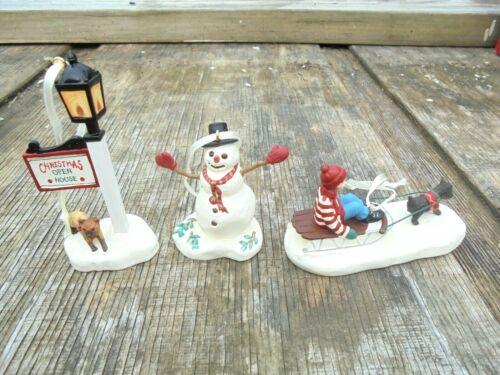 Thomas Kinkade HALLMARK set of 3 Christmas ornaments ~Snowman Sledding Street La