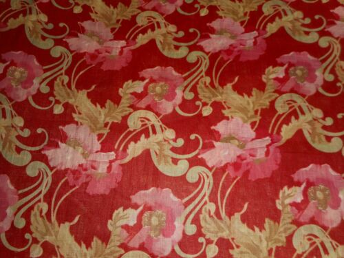 Antique Art Nouveau Poppy Floral Light Cotton Fabric ~ Red Rose Pink