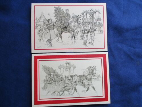 VINTAGE PAUL BROWN Horse ILLUSTRATION Christmas Inn Cards Sleigh APPaloosa ~NiCe