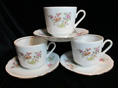 KAHLA FLORAL BUSHES OFF CENTER KHL71 MULTICOLORED FLOWERS 3 CUPS & SAUCERS