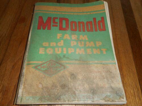 Vintage MCDONALD Farm and Pump Equipment Dubuque IA Sales Catalog - GREAT PHOTOS