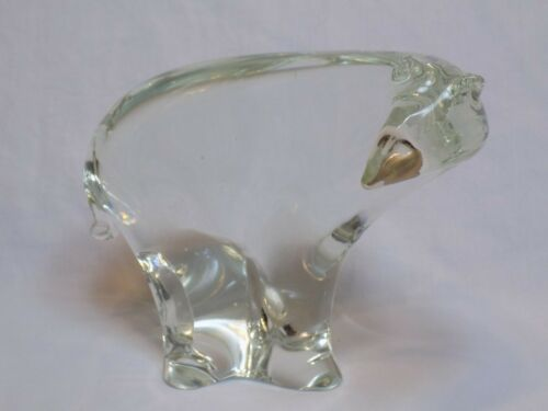 Glass Polar Bear Figurine Paperweight Crystal Eneryda Sweden Figurine Statue Old