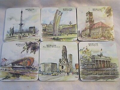 BERLIN SCHUBERTH TAMAT-SERIE WEST GERMANY BAR COASTERS SET OF 6 - LUD