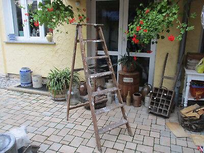alte 7 Stufen - Holzleiter, Deco, Blumentreppe, Regal