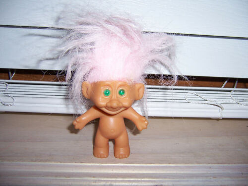 """Troll Doll Pink Hair Green Eyes As Pictured Made In China 3"""""""