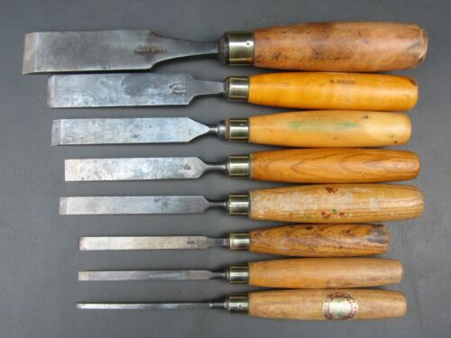 Graduated set of firmer chisels vintage old tools by Marples Sorby Etc