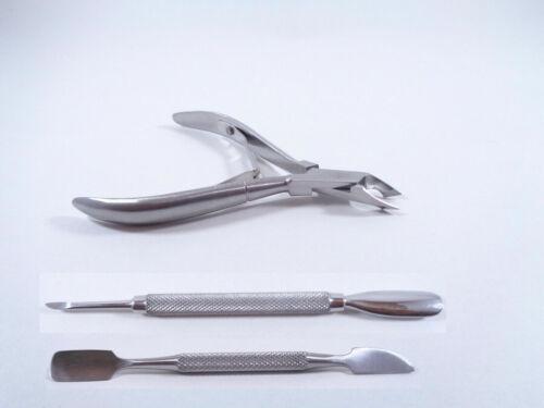 3 Pedicure Manicure Set Nail Cuticle Nipper/Cutter Cuticle Spoon Pusher/Remover