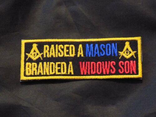 Raised A Mason Branded A Widows Son Masonic Patch Iron Sew Fraternity NEW!