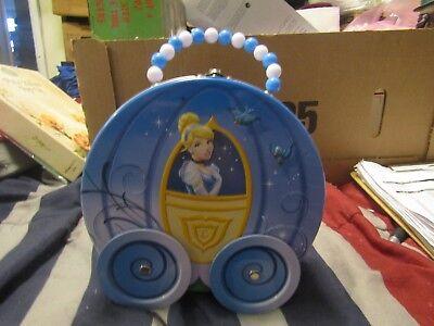 Disney Cinderella Wagon With Wheels Tin Box Metal Hand Bag All It Takes Is A Wan