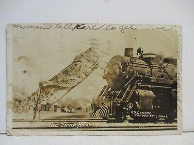 Grasshopper and Locomotive Exaggeration RPPC, Kansas, 1937